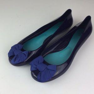 OKA b Plastic Ballet Flat Bow Round Toe Comfort